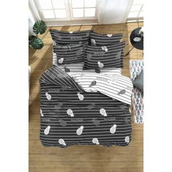 100% Natural Cotton Double Duvet Cover Set Inside Anthracite Ep-019018