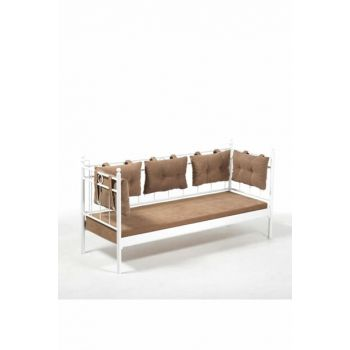 Alpas Sofa Cedar Triple Sofa White-Brown Alps3BK