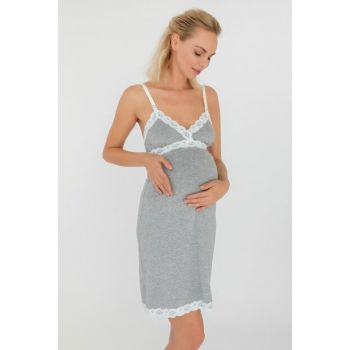 Women's Anthracite Melange Mom Lace Detailed Lactation Functional Combed Modal Nightdress 29751-B116