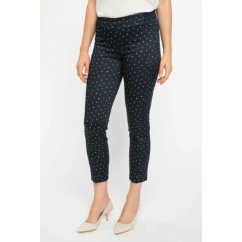 Women's Navy Blue Valentina Cigarette Polka Dot Pants I9861AZ.18AU.NV77