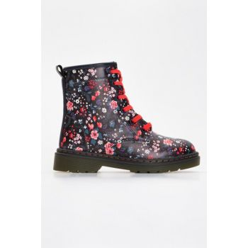 Girls' Navy Blue Printed 674 Boots