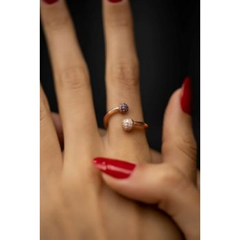 Women's Top Model Sapphire and Zircon Rose Plated Silver Ring PKT-İZLASLVR00253