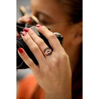 Women's Eye Model Black Zircon Rose Silver Ring İZLASLVR00026