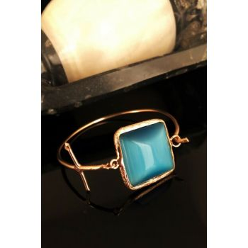 Dr Stone Natural Stone Women's Cat's Eye Stone Rose Gold Plated Bangle KRB351
