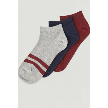 Women's Navy Blue 3-Piece College Design Ankle Socks Pack 09893338