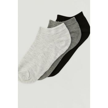 Women's Gray 3 Pack Textured Socks 09893335