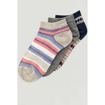 Women's Pink 3-Piece Colorful Striped Socks Package 09893320