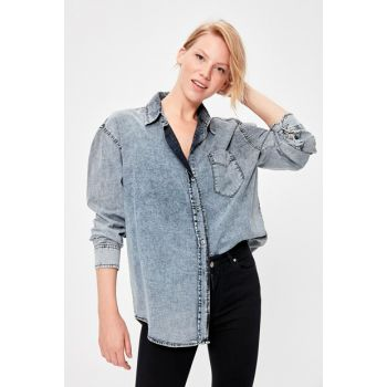 Blue Washed Oversize Denim Shirt TWOAW20GO0249