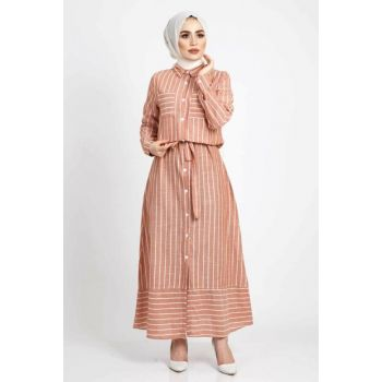 Women Belted Linen Dress Tsd178 Tile TSD178
