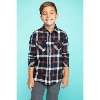 Navy Blue Boy Pocket Detailed Plaid Shirt J2725A6.18AU.NV6