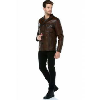 Camel Antique Genuine Leather Men Jacket E_1024_ZIG