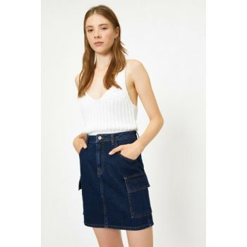 Women's Blue Pocket Detail Jean Skirt 0KAK77008MD