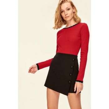 Black Button Detailed Shorts Skirt TCLAW19BY0045