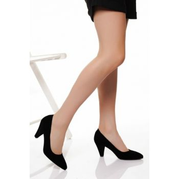 Black Suede Women Heels DTY1751