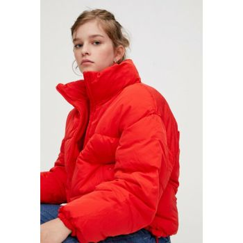 Women Red Upright Collar Inflatable Coat 09714313