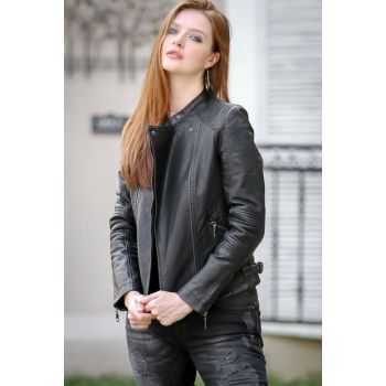 Women's Black Stand Collar Stitching Detailed Cross Zippered Faux Leather Jacket C10210100CE99605