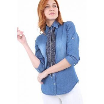 Women's Blue Oversized Shawl Accessories Denim Shirt 3644BGD19_008