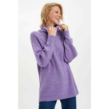 Women Purple Turtleneck Sweater Tunic J2247AZ.19WN.PR360