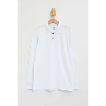 White Boy's Long Sleeve Polo T-Shirt L0288A6.19AU.WT34