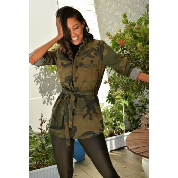 Women Khaki Denim Camouflage Safari Jacket DNZ-3034