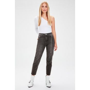 Anthracite High Waist Mom Jeans TWOAW20JE0129