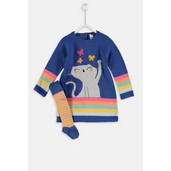 Baby Girl Navy Blue Ct8 Knitwear Dress And Pantyhose 9W6242Z1