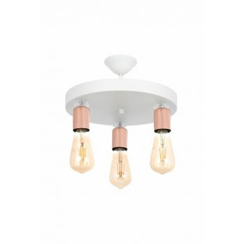 Rustic White Copper Round 3 Pieces Chandelier with Pearl Stone 0509