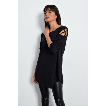 Women Black Shoulder Detailed Tunic LV96