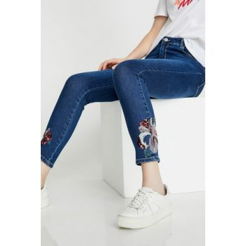 Women's Blue Trousers, Jeans 8YAK47313MD