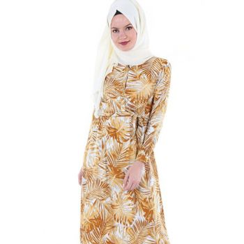 Women Mustard Patterned Hijab Dress 1549BGD19_076