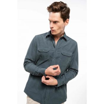 Men's Regular Fit Corduroy Shirt I9292AZ.18AU.GN807