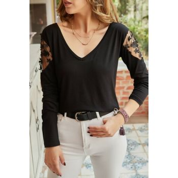 Women's Black Blouse With Handle Accessories 9YXK2-41702-02