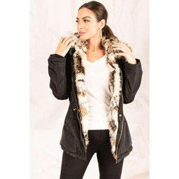 Women's Black Furry Chest Zipper Hooded Coat ARM-20K039003