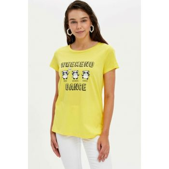 Women's Yellow Printed Short Sleeve T-shirt L7283AZ.19HS.YL291