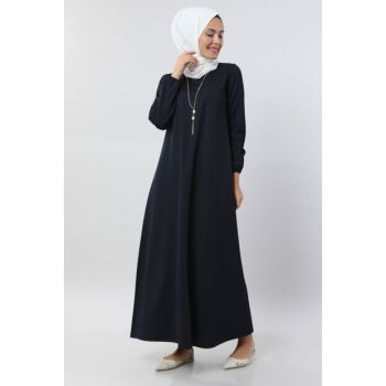 Women's Navy Blue Basic Dress with Necklace 5256