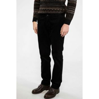 Men's Black Oscar Relax Fit Velvet Chino Pants J1052AZ.18CW.BK27
