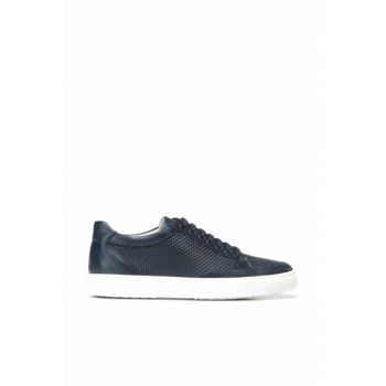 Genuine Leather Navy Blue Men Shoes 02AYH138310A680