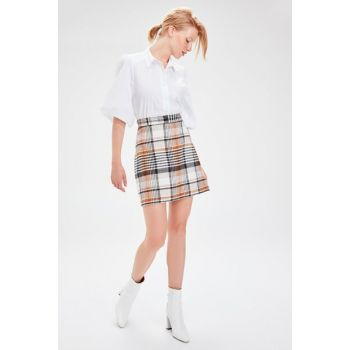 Camel Plaid Skirt TWOAW20ET0104