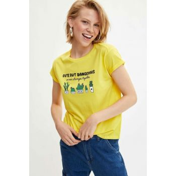 Women's Yellow Printed Short Sleeve T-shirt L9320AZ.19HS.YL291