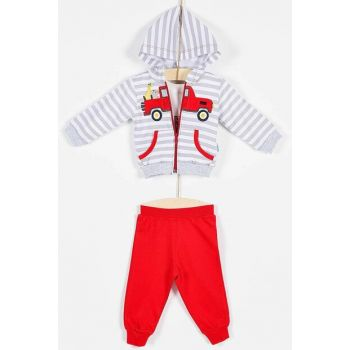 Buude Baby Boy Bottom Top 3 Set Hooded Striped 6-18 Months 6834 B6834