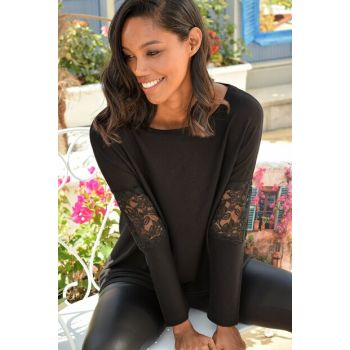 Women's Black Sleeve Ruched Blouse ALC-015-260-BS