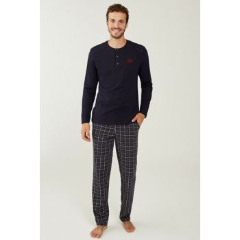 Men's Navy Blue Pajama Set 3183