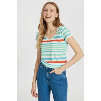 Women's Green Striped T-Shirt 9S7281Z8