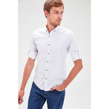 White Men's Slim Fit Shirt TMNAW20GO0134