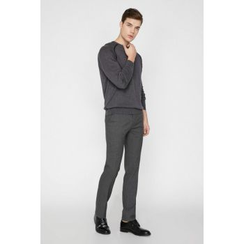 Men's Gray Normal Waist Pocket Detailed Narrow Trousers 9KAM41320NW