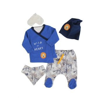 Navy Blue Lion Forest Animals Baby Boy 5Li Hospital Outlet AF90152