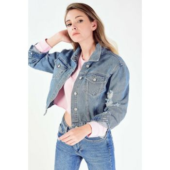 Women's Denim Color Ripped Jeans Jacket C2036 - H10 Adx-0000019847 ADX-0000019847