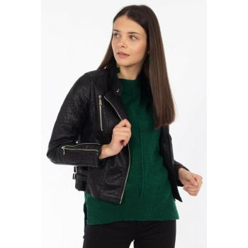 Women's Black Sides Double Belt Zippered Leather Jacket 1020