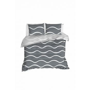 100% Natural Cotton Double Duvet Cover Set Novia Gray Ep-020261