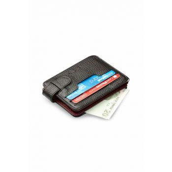 Men's Double Side Leather Card Wallet Double Color Burgundy-Black 5175Cıft 5175CIFT
